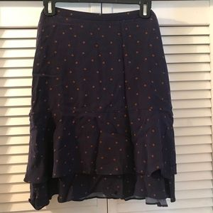 Boden Purple Polka Dot Viscose Layered Skirt 12